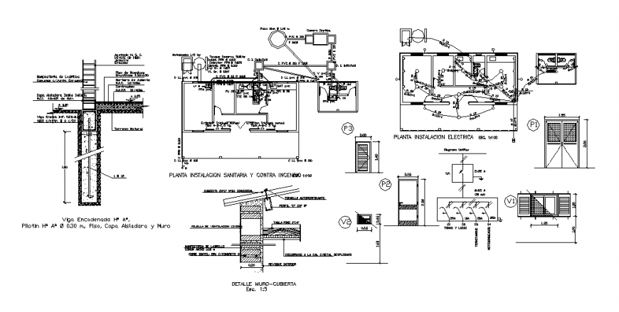 Sanitary installation, electric installation and constructive structure details dwg file