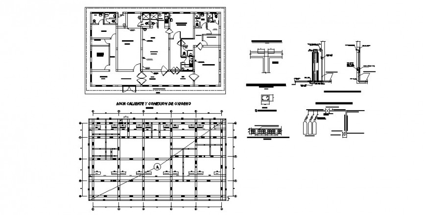 Sanitary installation, floor plan and structure details of hospital building dwg file