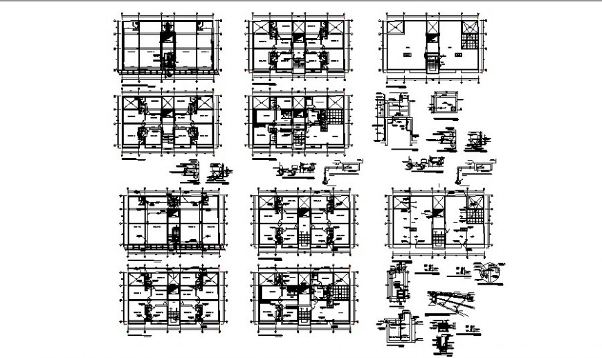 Sanitary installation and floor plan details of office building floors cad drawing details dwg file