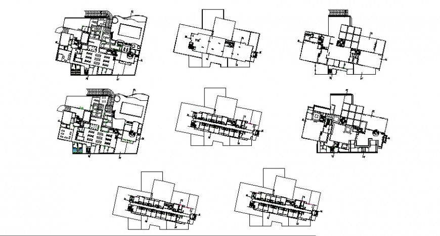 Sanitary installation and plan details with cover plan of all floors of apartment building dwg file