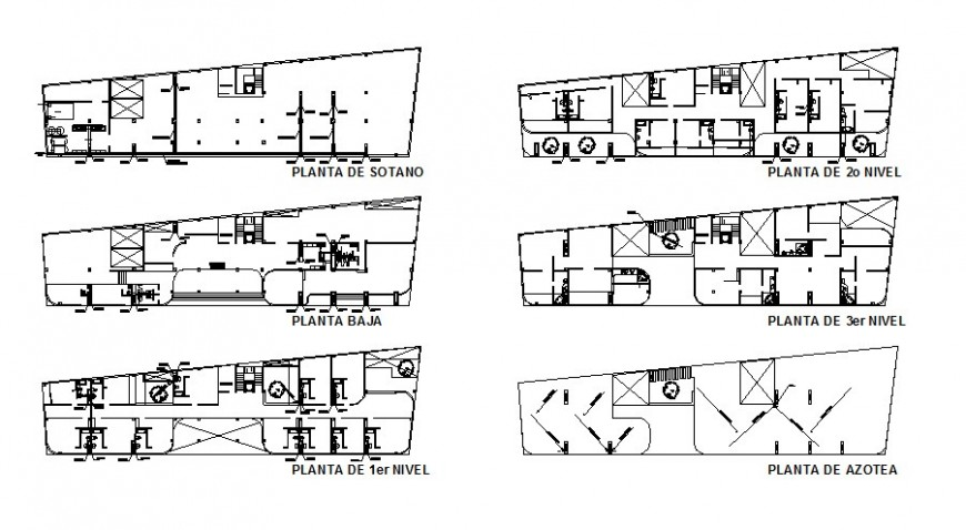Sanitary installation and plumbing details of hotel floors dwg file