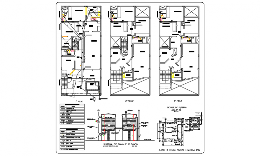 Sanitary installation design of residential family housing design drawing