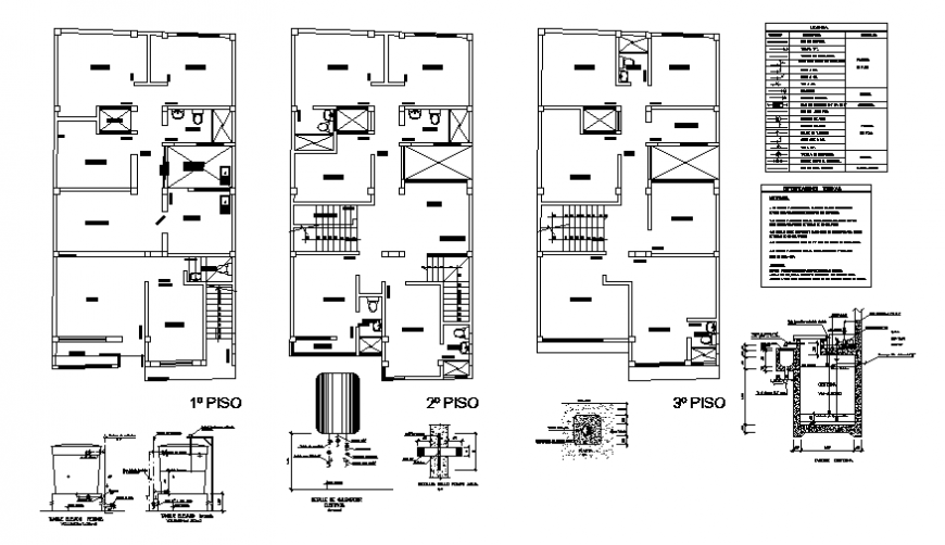 Sanitary installation details of all floors of house building dwg file