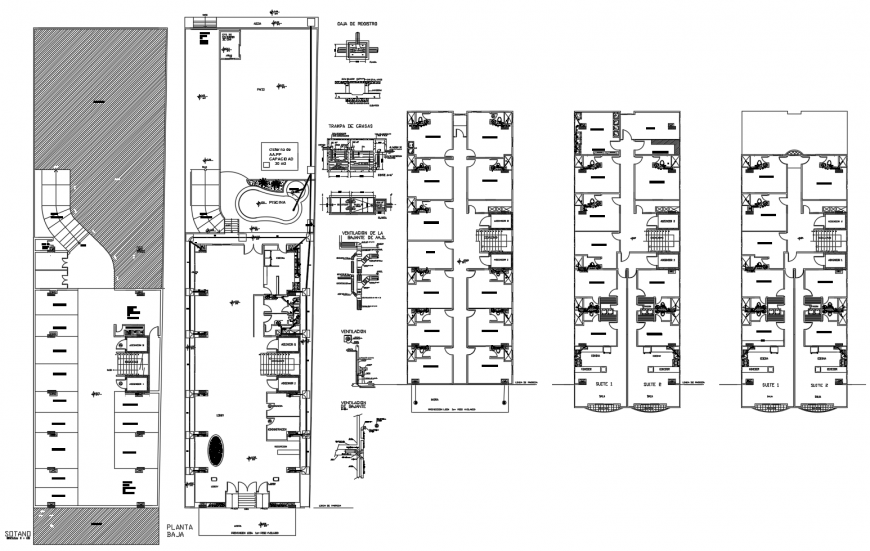 Sanitary installation of all floors of hotel building with plan dwg file