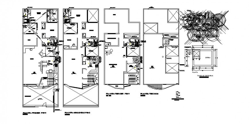 Sanitary installation of all floors of residential apartment building dwg file