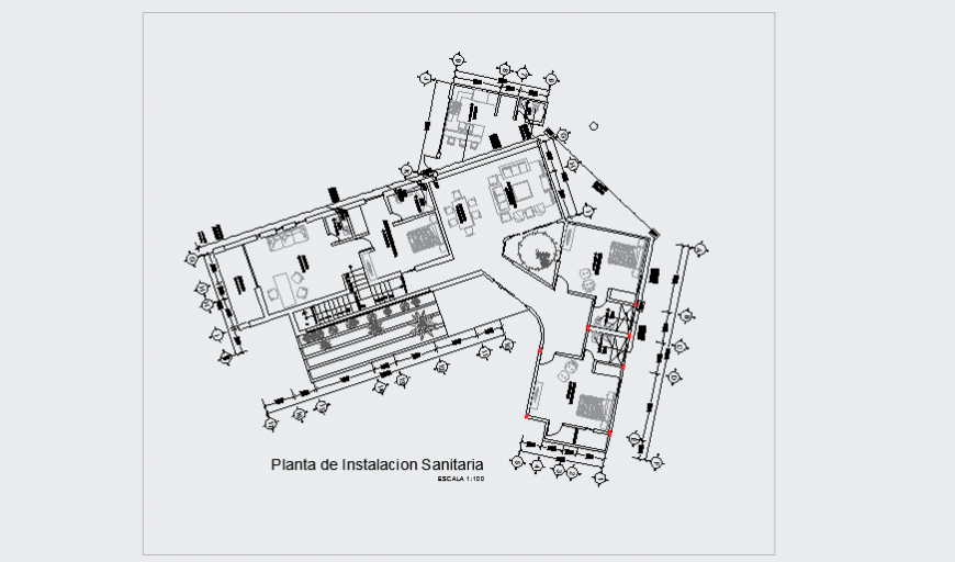 Sanitary installation plan design drawing for modern house design