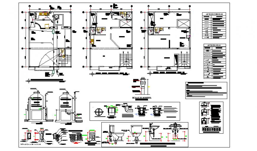 Sanitary installation plan residential housing-commerce design drawing