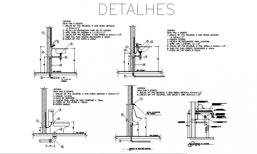 Sanitary installation plumbing constructive structure details dwg file