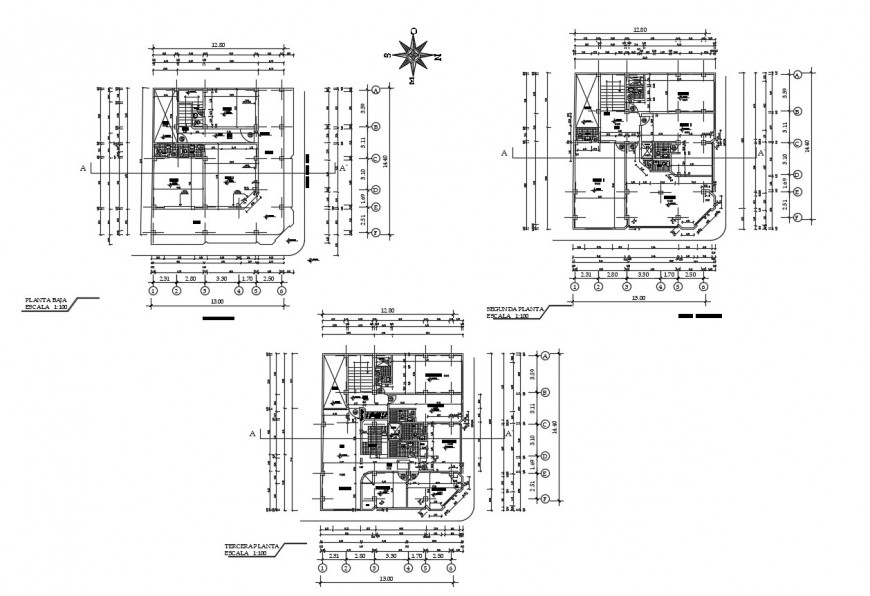 Sanitary installation with plan of three story house building cad drawing details dwg file