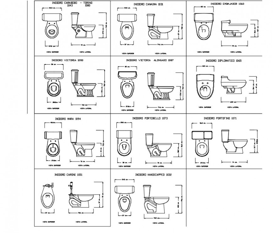 Sanitary pieces water closed plan layout file