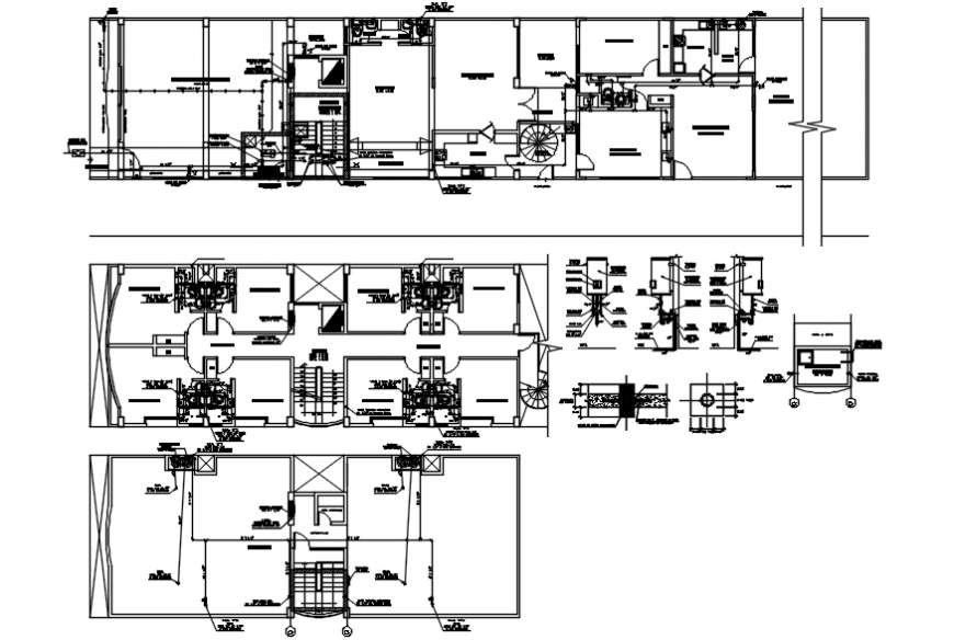Sanitary plan and installation details for building with plumbing structure dwg file