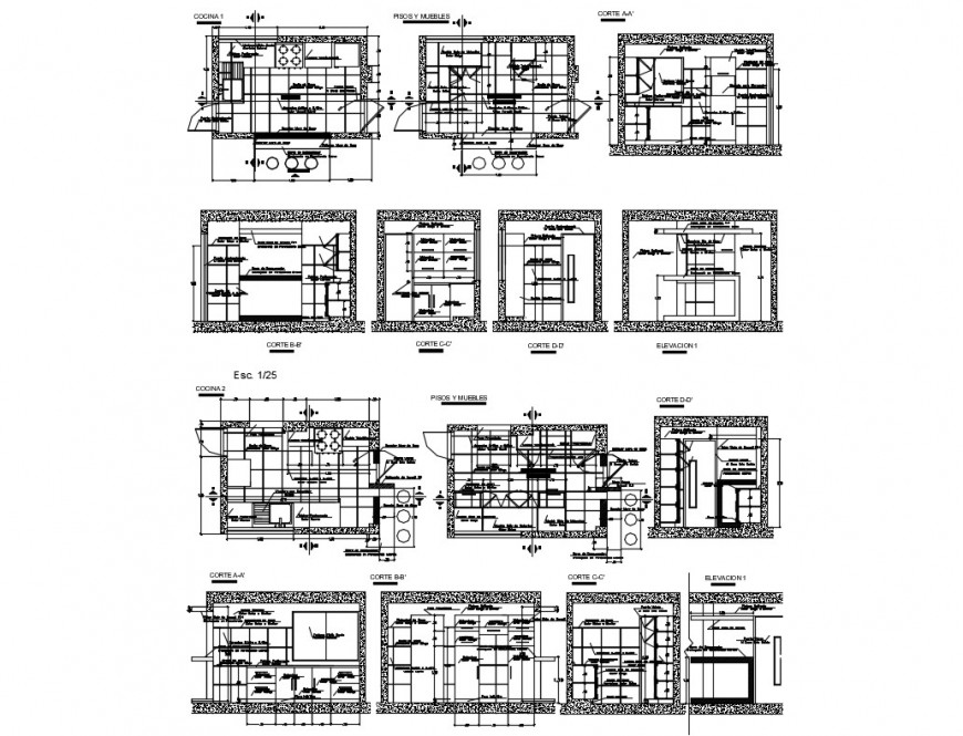 Sanitary section and installation details of one family house building dwg file