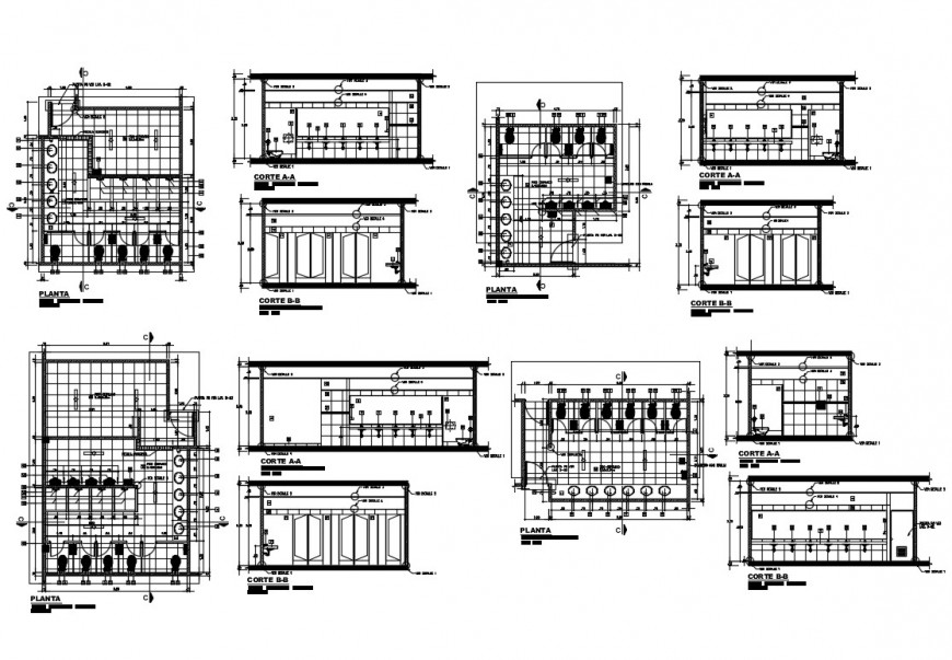 Sanitary section and plan and installation details of shopping mall dwg file