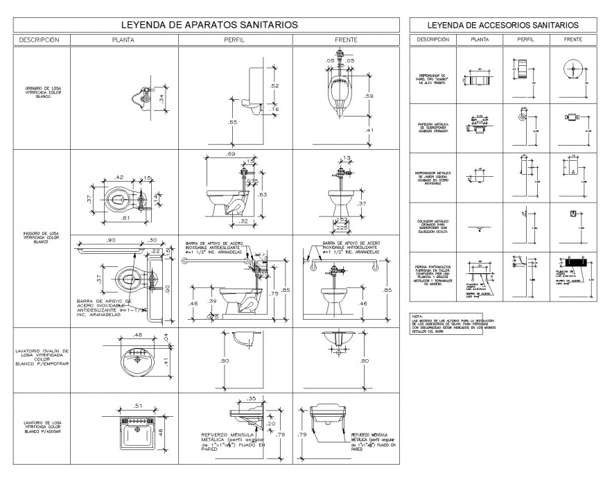 Sanitary table specification plan autocad file