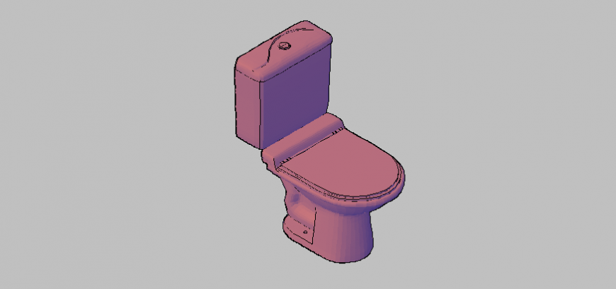 Sanitary toilet detail 3d model elevation autocad file