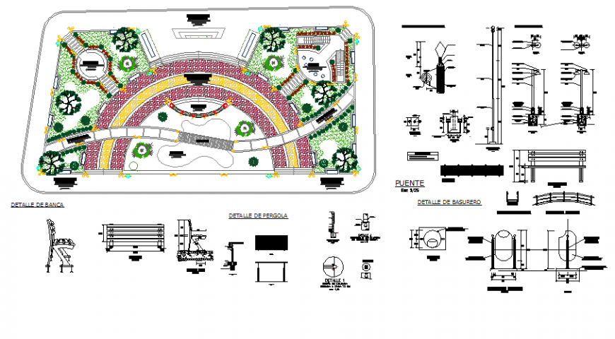 Santodomingo park landscaping structure and play equipment details dwg file