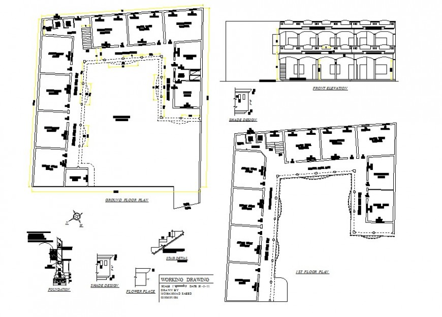 School 1st floor and ground floor layout plan drawing in dwg AutoCAD file.