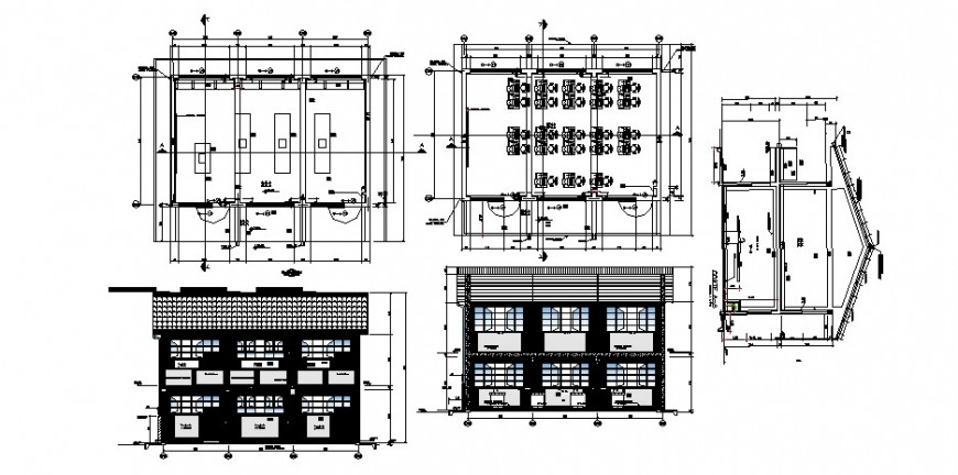 School building elevation, classroom, plan and structure details dwg file