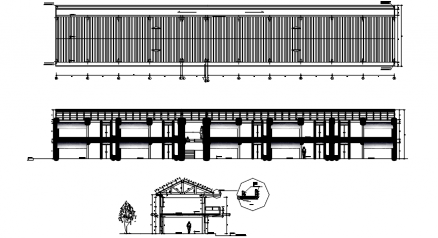 School building elevation, roof section and structure details dwg file