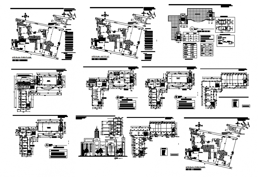 School building elevation, section, floor plan, site plan and structure details dwg file