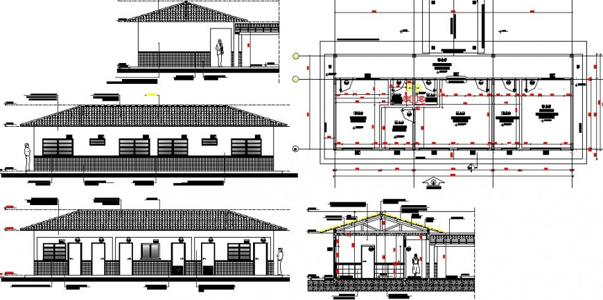 School building elevation, section, plan and auto-cad details dwg file