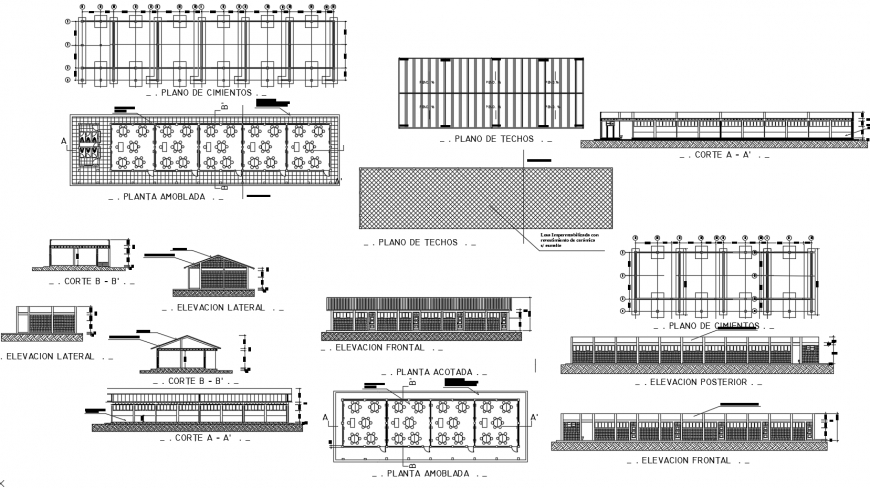 School building elevation, section, plan and cad drawing details dwg file