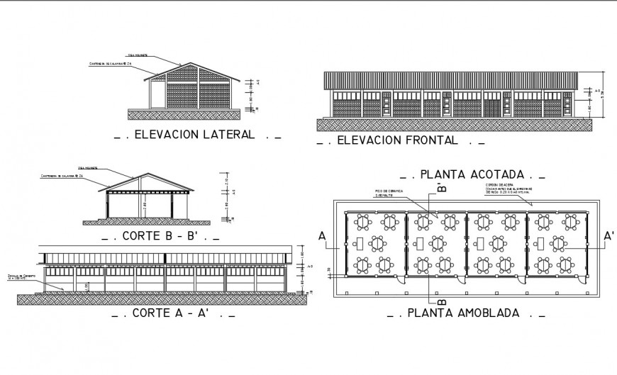 School building elevation, section and first floor plan details dwg file