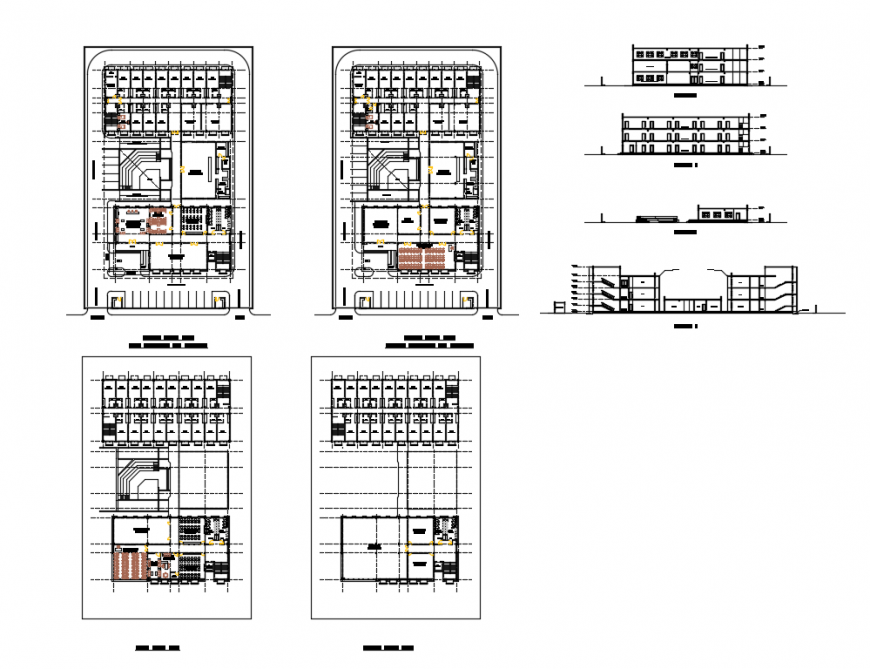 School building elevation, section and floor plan cad drawing details dwg file