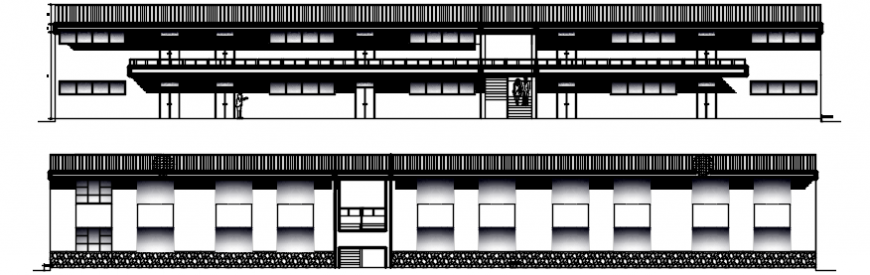 School building main and back elevation cad drawing details dwg file