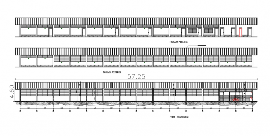 School building main and back elevation with longitudinal section drawing details dwg file