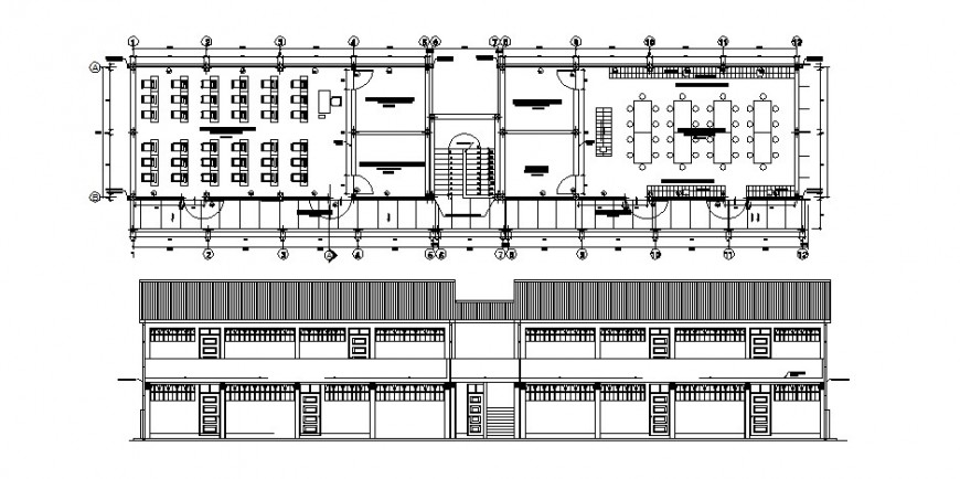 School building main elevation and floor plan cad drawing details dwg file