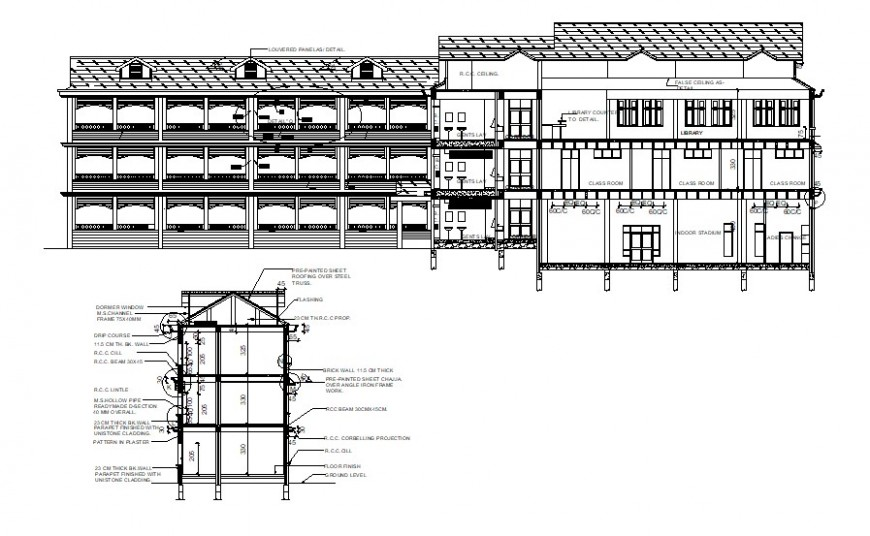 School building section plan and elevation design cad file