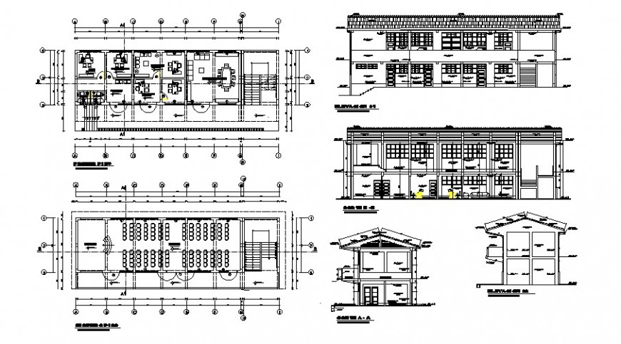 School building work plan details in autocad