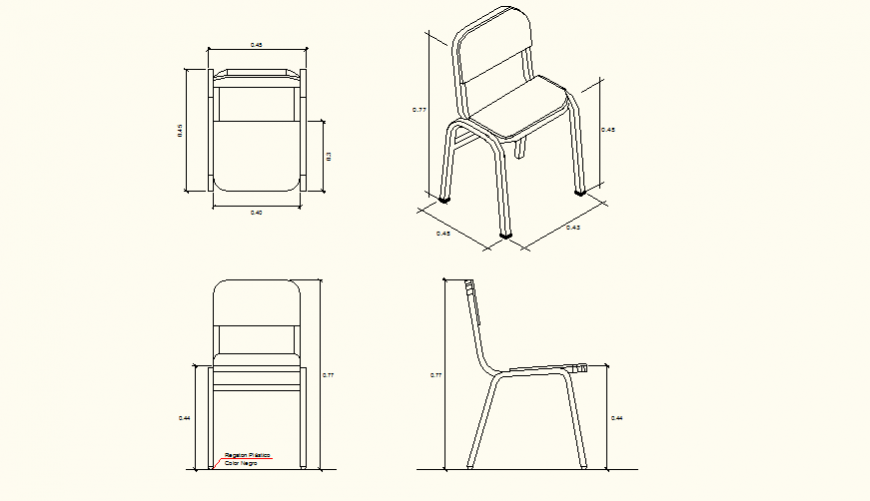 School chair design detail plan and elevation layout file