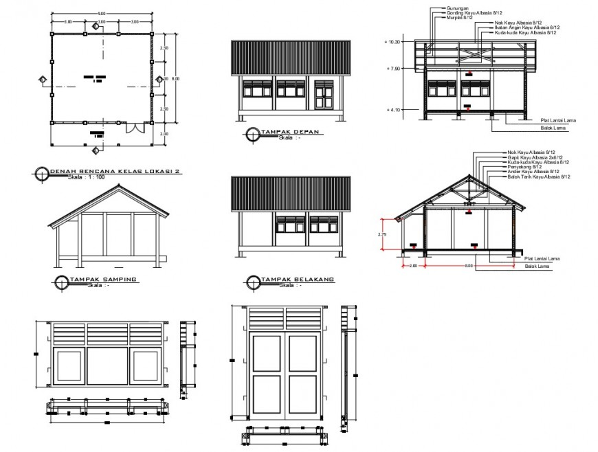 School classroom elevation and constructive section details dwg file