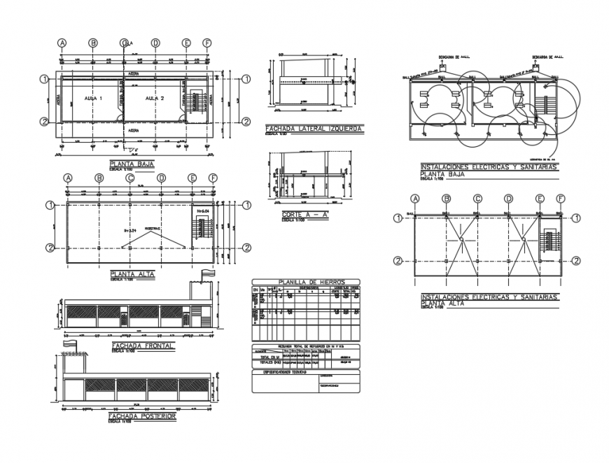 School classrooms constructive structure and architecture details dwg file