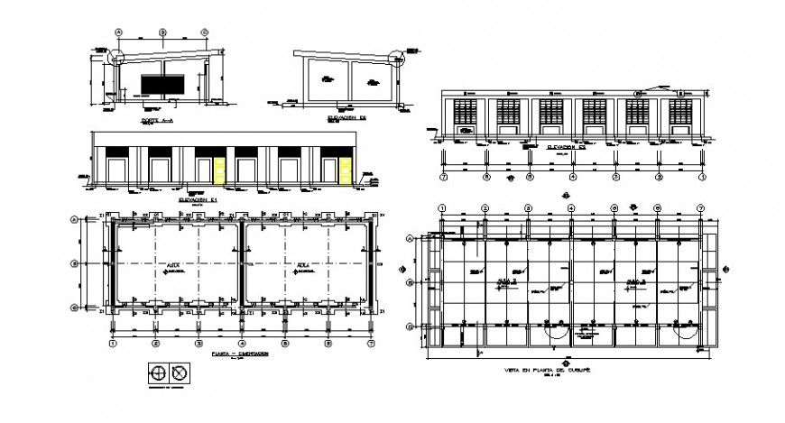 School classrooms elevation, section, floor plan and cad drawing details dwg file