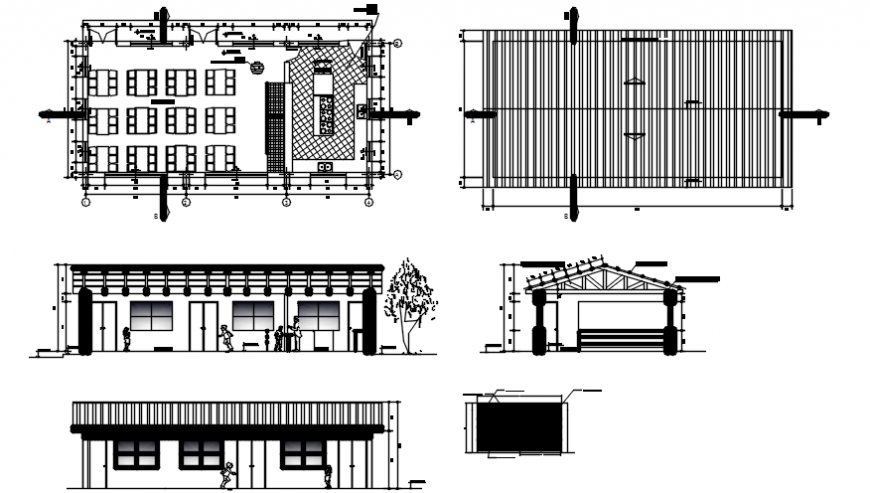 School classrooms elevation, section, plan and construction details dwg file