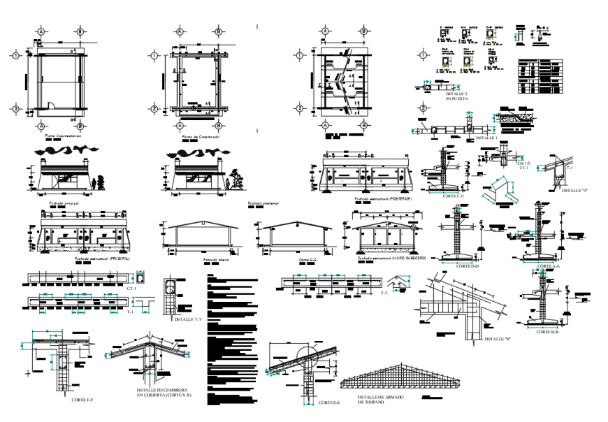 School classrooms sections and constructive structure details dwg file