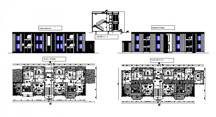 School color perspective detail autocad file