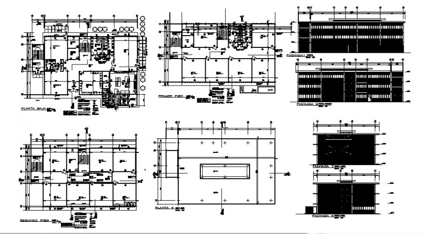 School complex elevation, section, floor plan and structure details dwg file