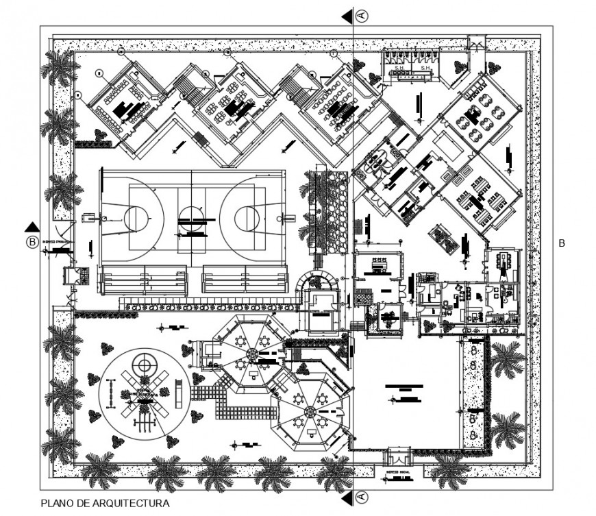 School distribution plan with landscaping structure cad drawing details dwg file