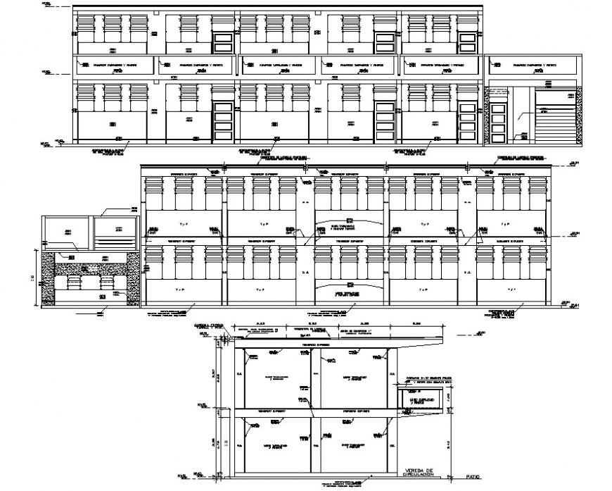 School elevation design cad file