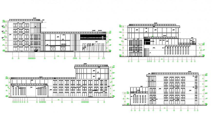 School elevation plan dwg file