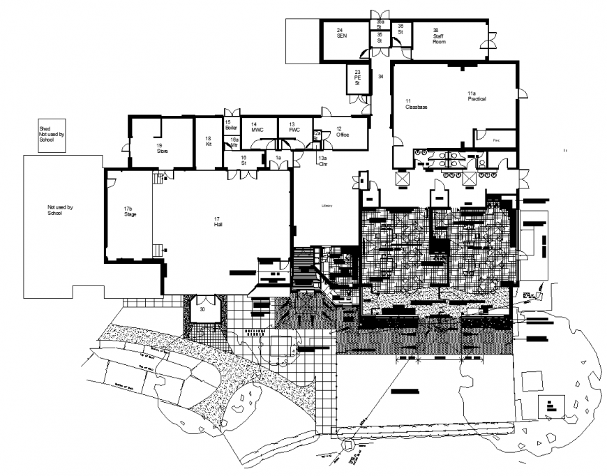 School extension design drawing In dwg file.