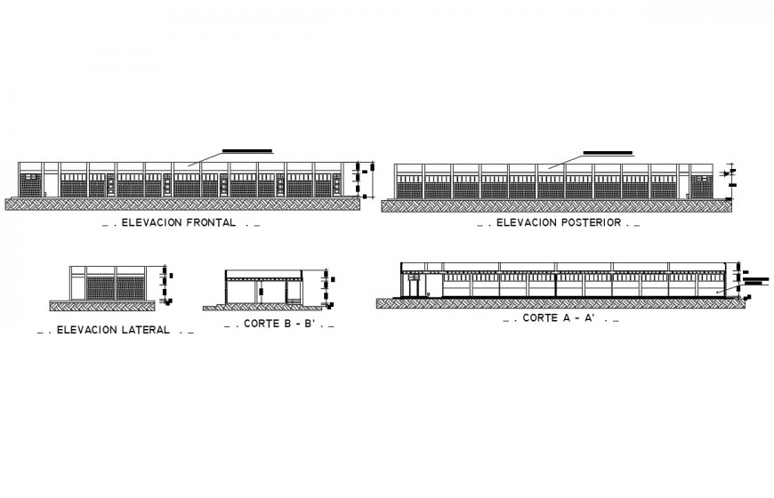 School facade and back elevation with sectional details dwg file