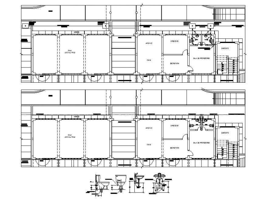 School floors plan and sanitary installation details dwg file