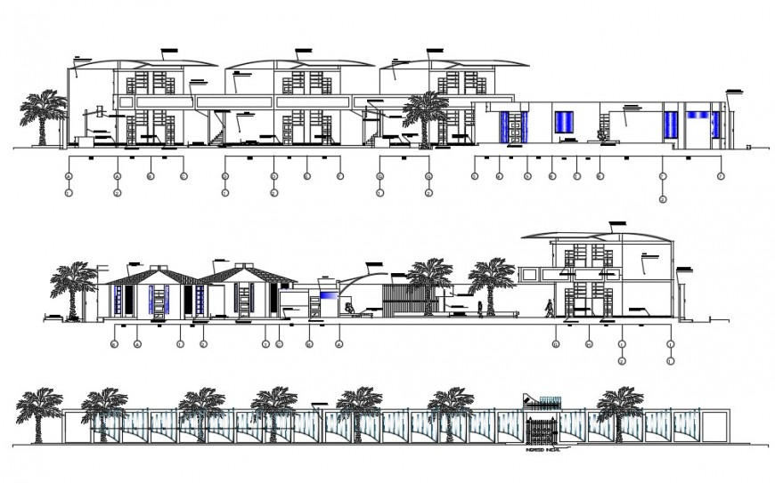 School front elevation and section details with compound wall cad drawing details dwg file