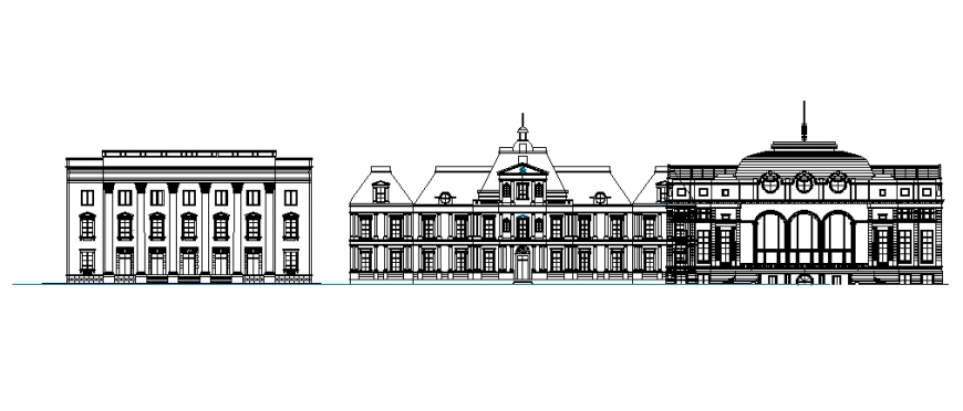 School front elevation design dwg file
