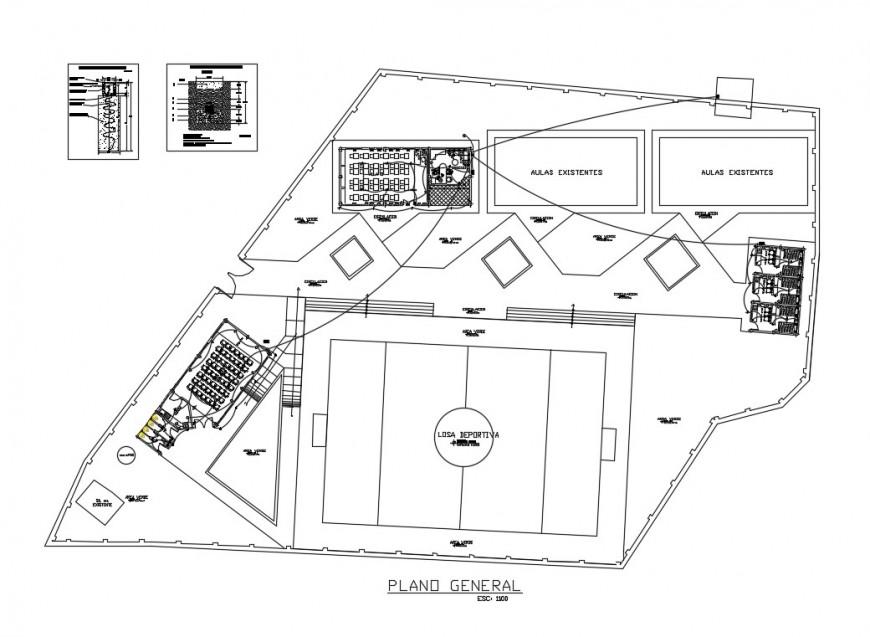School hygiene services installation details with school plan dwg file
